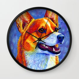 Colorful Pembroke Welsh Corgi Dog Wall Clock
