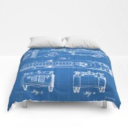 Fire Truck Patent - Aerial Fireman Truck Art - Blueprint Comforters