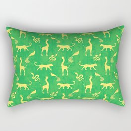 Animal universe. Yellow silhouettes of wild animals. African giraffes, leopards, cheetahs. snakes, exotic tropical birds. Tribal ethnic nature bright green grunge distressed pattern. Rectangular Pillow