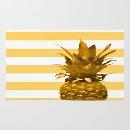 Pineapple with yellow stripes - summer feeling Rug