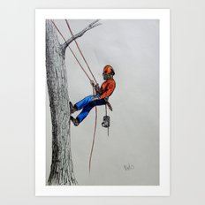 Arborist ,Tree Surgeon using stihl 020T chainsaw,husqvarna, Art Print