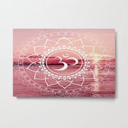 Water Om Mandala : Rose Pink Metal Print