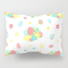 Colorful Easter Egg and Easter Flower Pattern Pillow Sham