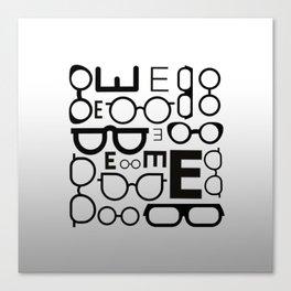 Eye Chart eyeglasses gray glasses Canvas Print