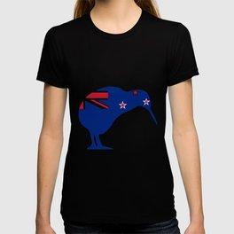 New Zealand Flag With Kiwi SIlhouette T-shirt