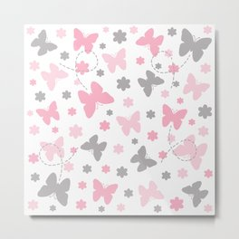 Pink and Grey Gray Butterfly Flower Metal Print