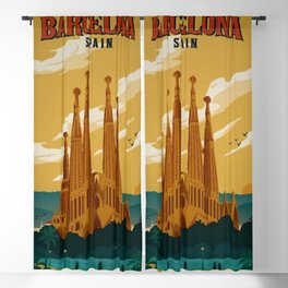 Vintage Barcelona, Spain Travel Lithographic Poster Advertisement Blackout Curtain