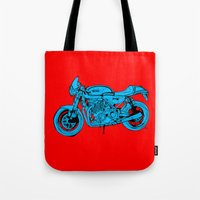 cafe racer Tote Bags featuring Norton Commando 961 Cafe Racer LOST TIME by Larsson Stevensem