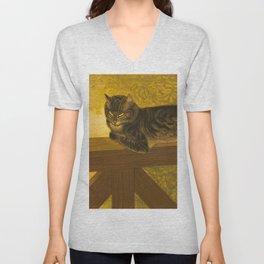 Summer Cat on Balustrade Vintage Cat Portrait Unisex V-Neck