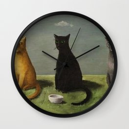 Three Cats with Clouds That Follow Them Everywhere by Gertrude Abercrombie Wall Clock