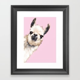 Sneaky Llama in Pink Framed Art Print