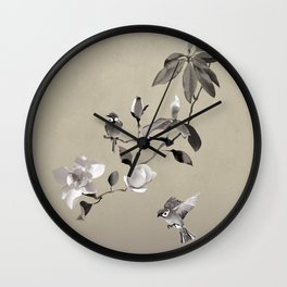 Magnolia And Two Sparrows Wall Clock