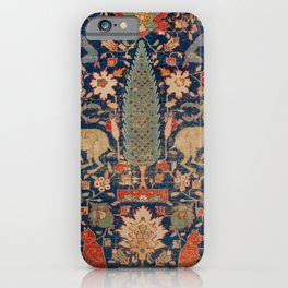 17th Century Persian Rug Print with Animals iPhone Case