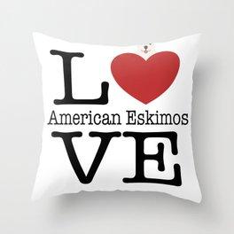 Love Cute American Eskimos Throw Pillow