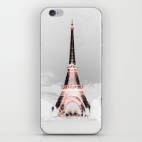 blankets iPhone & iPod Skins featuring pariS Black & White + Pink by 2sweet4words Designs
