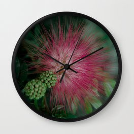 Calliandra. Flower. Wall Clock