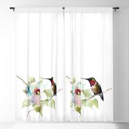 Hummingbird and White Magnolia Blackout Curtain