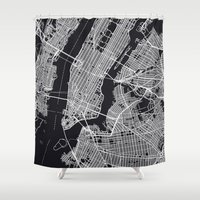 new york map Shower Curtains featuring NEW YORK CITY MAP by chiams