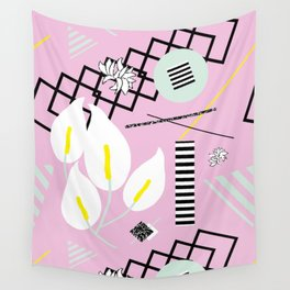 80's Calla Lily Floral Wall Tapestry