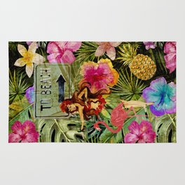 Tropical Vintage Exotic Jungle Beach Party Rug