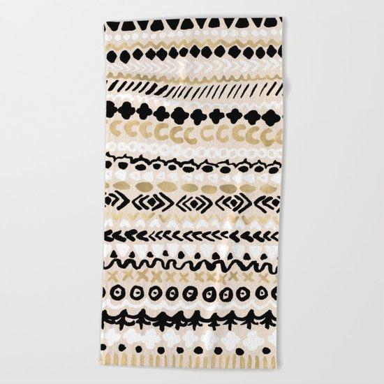Black, White & Gold Tribal Beach Towel