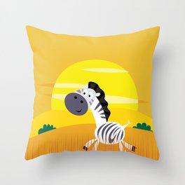 Zebra with Golden Africa sun : Kids art Shop Throw Pillow