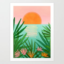 Tropical Views / Pink and Green Landscape Art Print