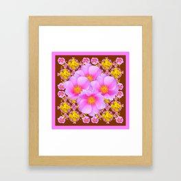 Chocolate Brown Pink Wild Roses Pattern Art Framed Art Print