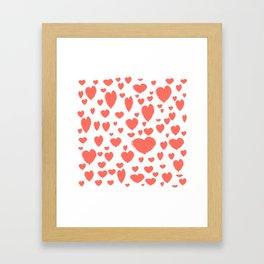 Living Coral scattered Hearts Framed Art Print