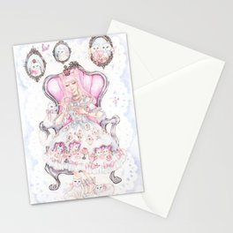 Cat's Tea Party Watercolor Painting Stationery Cards