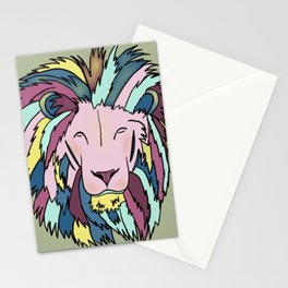 Lion Head King OF The Jungle In Teal, Pink, And Purple Pastels Stationery Cards