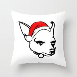 Chihuahua Dog with Christmas Santa Hat Throw Pillow