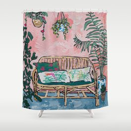 Rattan Bench in Painterly Pink Jungle Room Shower Curtain