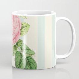 Pink Rose On Blue Stripes Coffee Mug