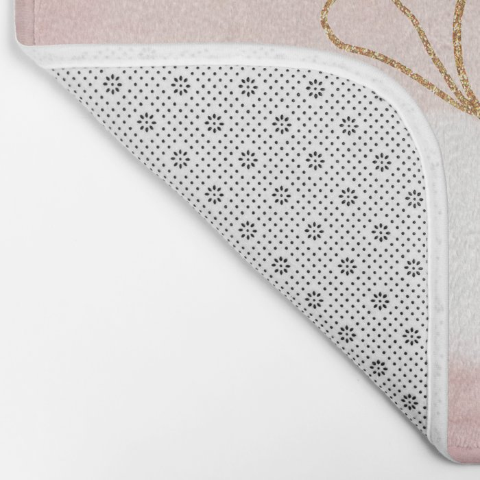 LOVE in pink - Watercolor heart with gold bow on pink backround Bath Mat