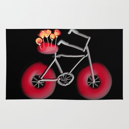Bike With Roses Black Background With Red Rug