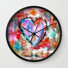Reckless Heart, Abstract Painting Wall Clock