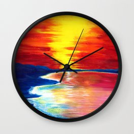 Saturated Sunset Wall Clock