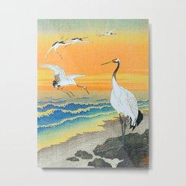 Ohara Koson Cranes on the seashore Metal Print