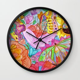 Colourful Butterfly among colourful flowers Wall Clock