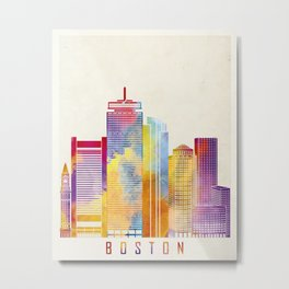 Boston landmarks watercolor poster Metal Print