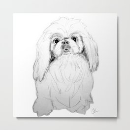 Cartoon Pekingese Dog Metal Print