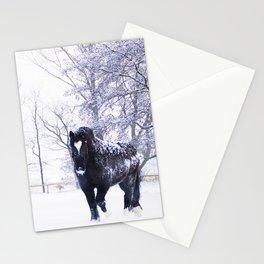 Black beauty horse in winter landscape Stationery Cards