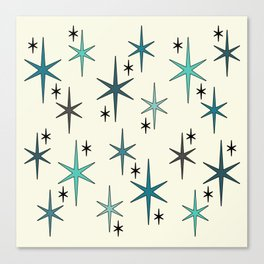 Mid Century Modern Star Sky Turquoise Canvas Print