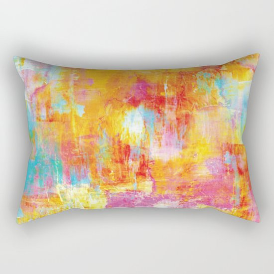 OFF THE GRID Colorful Pastel Neon Abstract Watercolor Acrylic Textural Art Painting Nature Rainbow  Rectangular Pillow