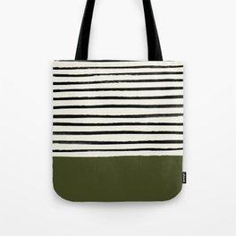 Olive Green x Stripes Tote Bag