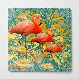Modern Teal Art Saffron Flamingos  Water Lilies Metal Print