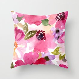 Watercolor Flowers Pink Fuchsia Throw Pillow