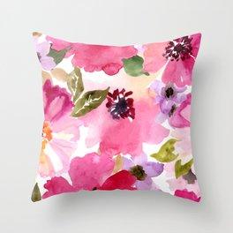 Watercolor Flowers Pink Fuchsia Deko-Kissen