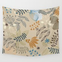 floral pattern Wall Tapestries featuring Floral pattern by De Assuncao création